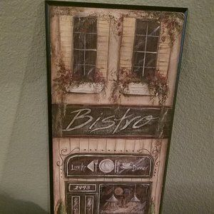 "BISTRO PRINT *BLACK WOOD*TUSCANY LOOK*20"" T X 8"" W"